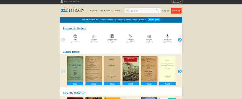 Open Library Website