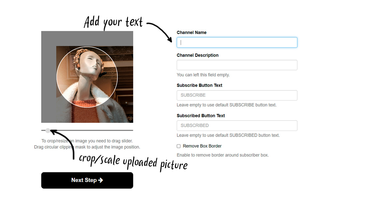 instruction: step 3. add your text to subscribe button like overlay